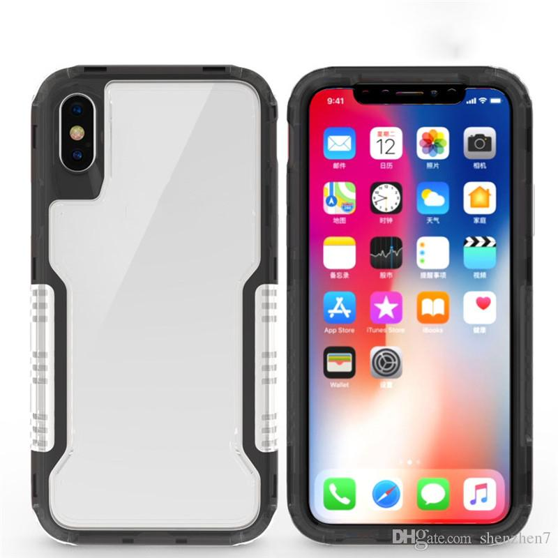 For Iphone XS XR Case 3in1 Clear Hybrid Soft TPU Hard PC Back Cover Defender Case For Iphone X 8 8plus hot sale SCA482