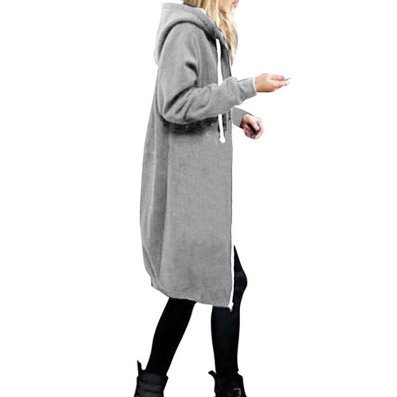 2018 Moda Mujer Sudaderas Con Capucha Harajuku Cremallera Sudadera Con Capucha Larga Otoño Invierno Abrigo de Gran Tamaño Pullover Casual Chaqueta Suelta Tops