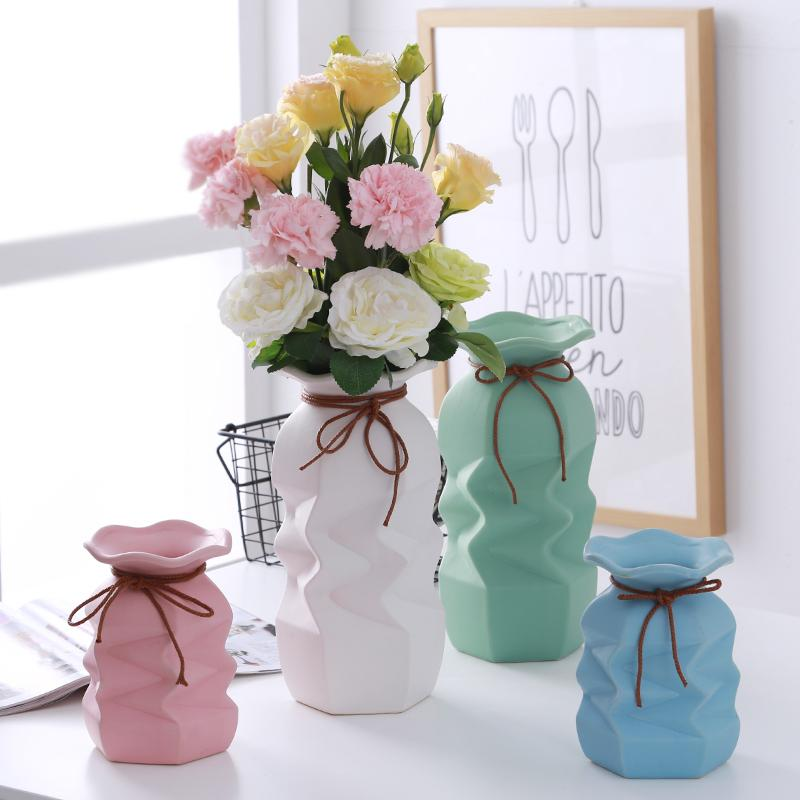 New Simple Ceramic Dry Flower Vase Little Fresh European Modern Home