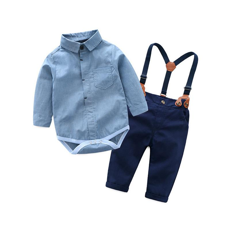 0-3T newborn clothes set for boys baby clothing suit blue cotton overalls + Navy pants with belt handsome boys suit first gift Y1893005
