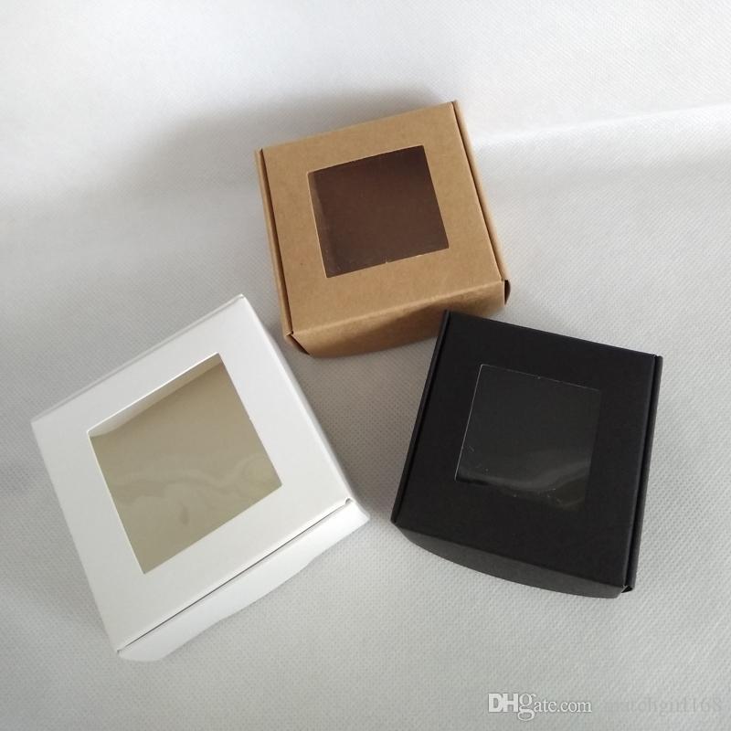 65 * 65 * 30mm, 70 * 70 * 30mm folding preto caixa de papel kraft em branco com janela pvc suprimentos de embalagem de presente bolo do partido de cozimento caixa de doces