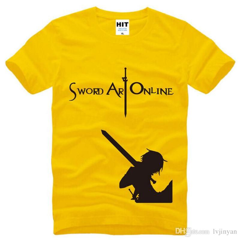 Sword Art Online SAO COS Printed T Shirt Men Summer Short Sleeve O-Neck Cotton Men's T Shirt Tee Shirt Homme Anime Fans Clothing