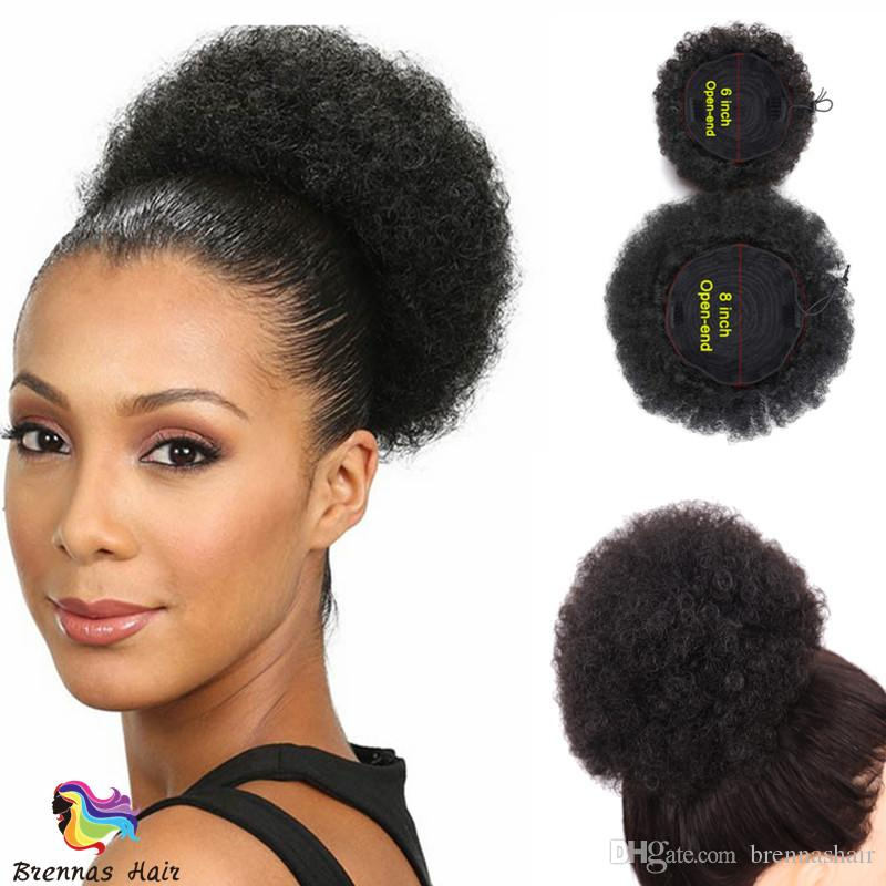 Fashion Human Hair Afro Curly Chignon Ponytail Bun Donut Short Hair