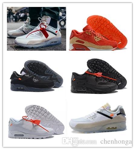 NUEVOS Zapatillas de deporte para hombre Zapatos blancos clásicos baratos 90 Hombres y mujeres zapatos casuales Negro Rojo Blanco Zapatillas