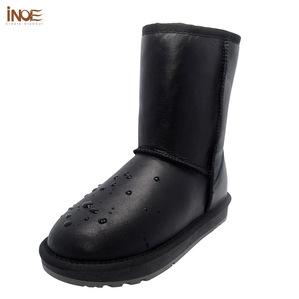 fe9a612f29 Compre INOE Clássico Mid Calf Real Homens Pele De Carneiro Couro De Pele De  Ovelha Forrada Inverno Botas De Neve Para Homens Sapatos De Inverno À Prova  D   ...
