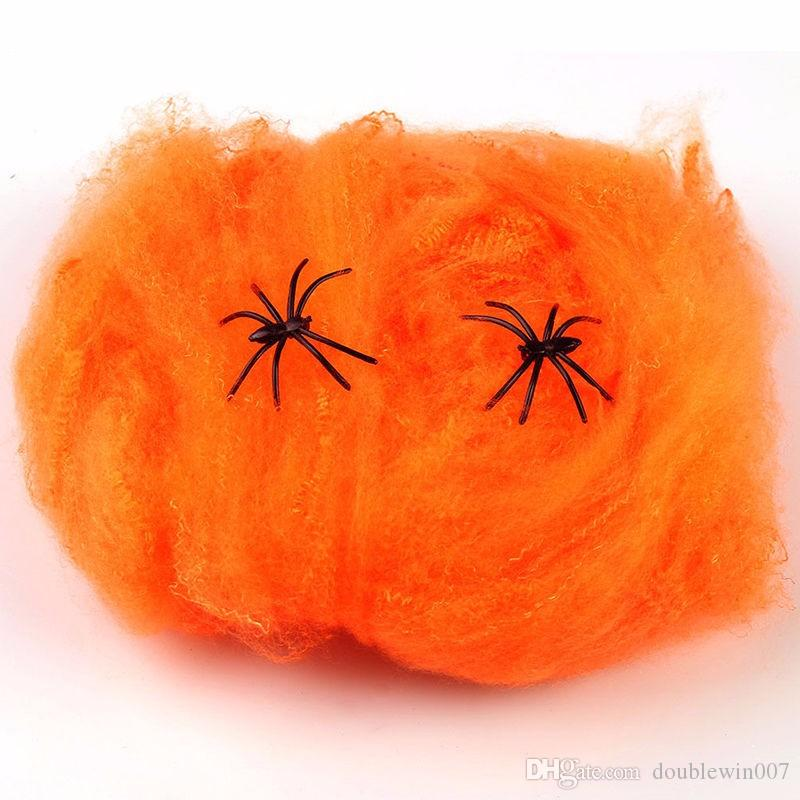 DHL free shipping 2018 Halloween Scary Party Scene Props White Stretchy Cobweb Spider Web Horror Halloween Decoration For Bar Haunted House