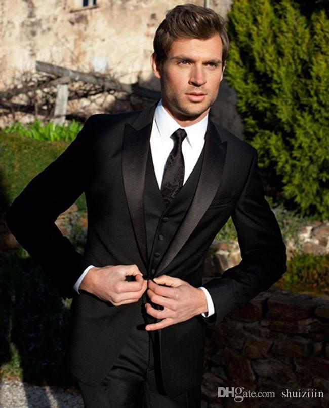 fe5c105f1958 Slim Fit Negro para hombre trajes de boda un botón por encargo de los  novios esmoquin tres piezas hombres traje de negocios (chaqueta pantalones  ...