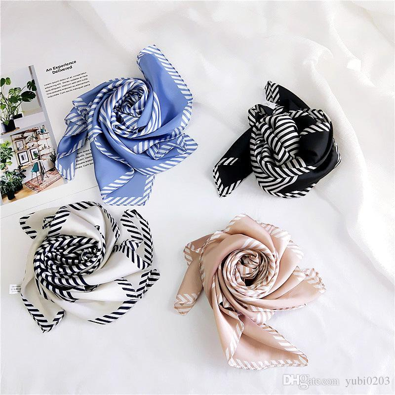 70cm stripe small square scarf women spring and summer new fashion wild professional scarf sunscreen Variety scarf