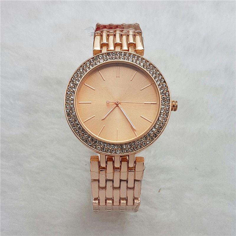 Reloj de pulsera gül altın İzle kadın lüks yeni marka casual bayanlar tasarımcı saatler kadınlar için Elmas bilezik Paslanmaz çelik saat hediye
