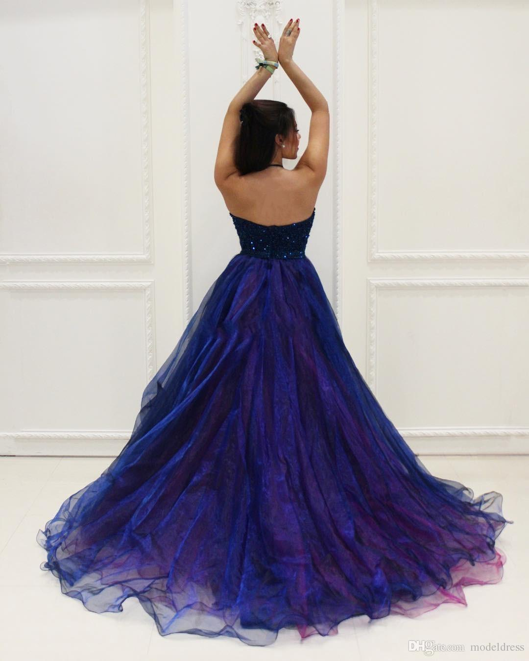 2018 Modest High Low Prom Dresses Halter Backless Major Beading Tired Skirt Organza Royal Blue Evening Party Graduation Gowns Customized