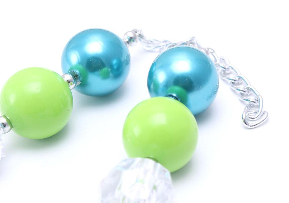 Lovely Green Bow Kid Chunky Necklace Summer Style Handmade Bubblegum Bead Chunky Necklace Children Jewelry For Toddler Girls