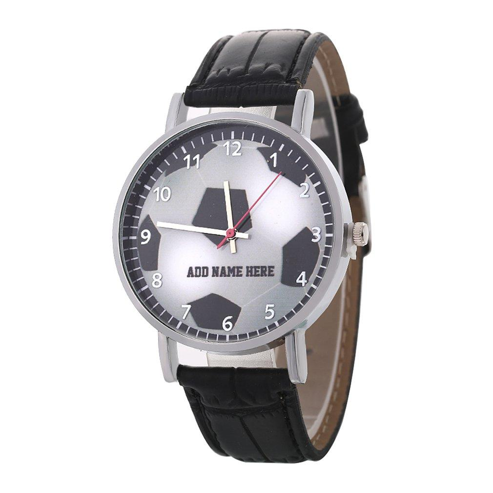 Football Pattern Quartz Watches Sport Men PU Leather Band Round Dial Wrist  Watch Fashion Casual Teen Child Birthday Gift Simple Automatic Watches  Shoes ...
