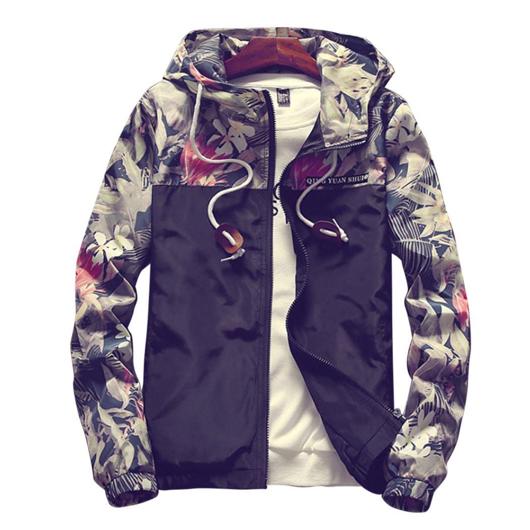 92899d45c Men'S Long Sleeve Zipper Hooded Floral Bomber Men Jacket Hip Hop ...
