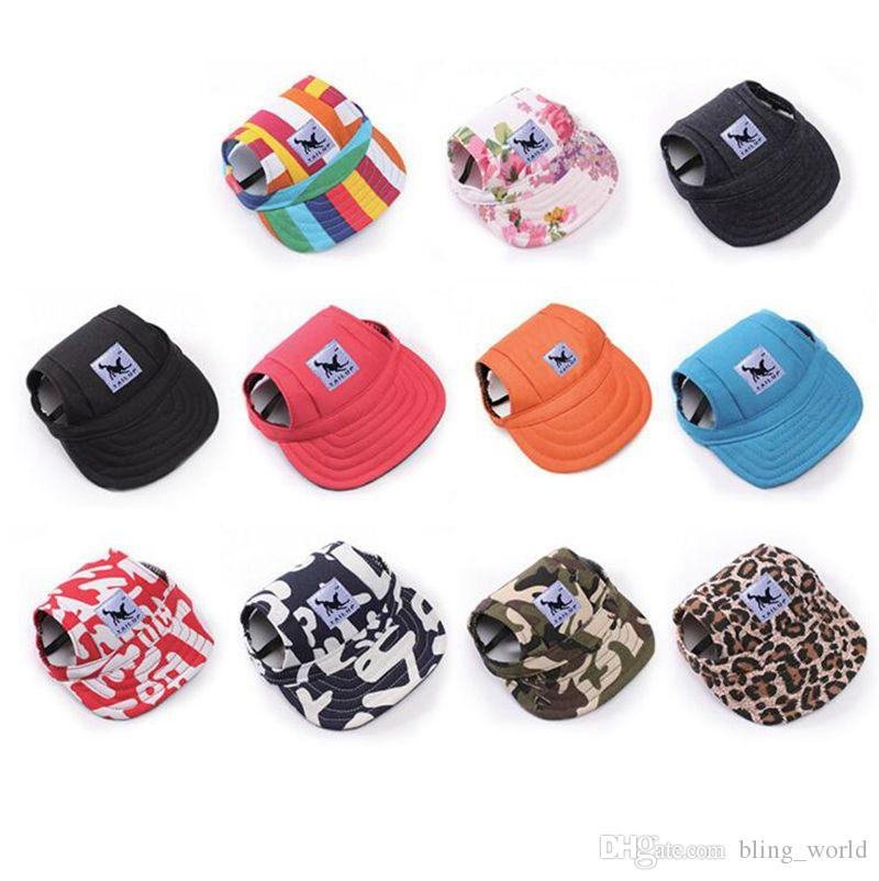 Pet Dog Hats With Ear Holes Summer Small Dog Baseball Cap Puppy Baseball  Visor Hat Pet Outdoor Accessories YW898 2 UK 2019 From Bling world 54eec5c6fad7