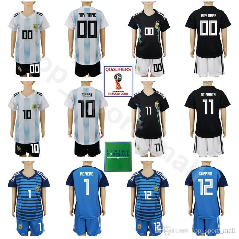 e4ae9aac9 2019 Argentina Youth Long Jersey Set With Short Pant 2018 World Cup Soccer  5 BIGLIA 7 BANEGA 17 OTAMENDI 21 DYBALA 1 GUZMAN Football Kits ROMERO From  ...