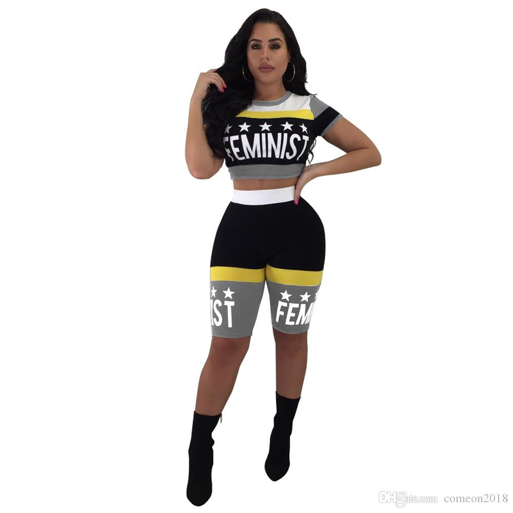 a1786c13947f 2019 Hot Women Clothes Fashion Skinny Women Tracksuit Outfits Set Letter  Printing Top And Short Pants Club Sexy Clothes Pink Sportswear From  Comeon2018