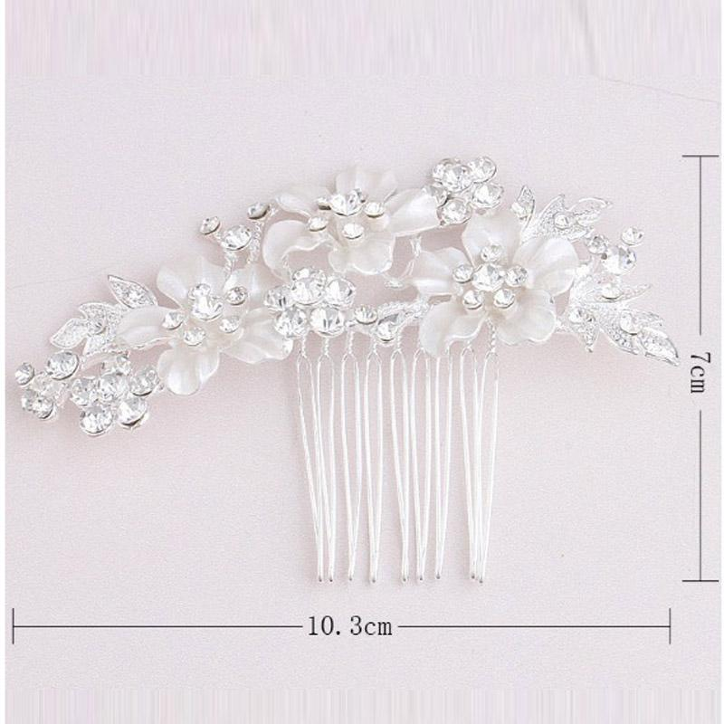 À La Mode Mariée Strass Cristal Blanc Perle Peigne À Cheveux Fleur Conception Cheveux Clips De Mariage Partie De Mariée Bandeau Cheveux Accessoires Bijoux