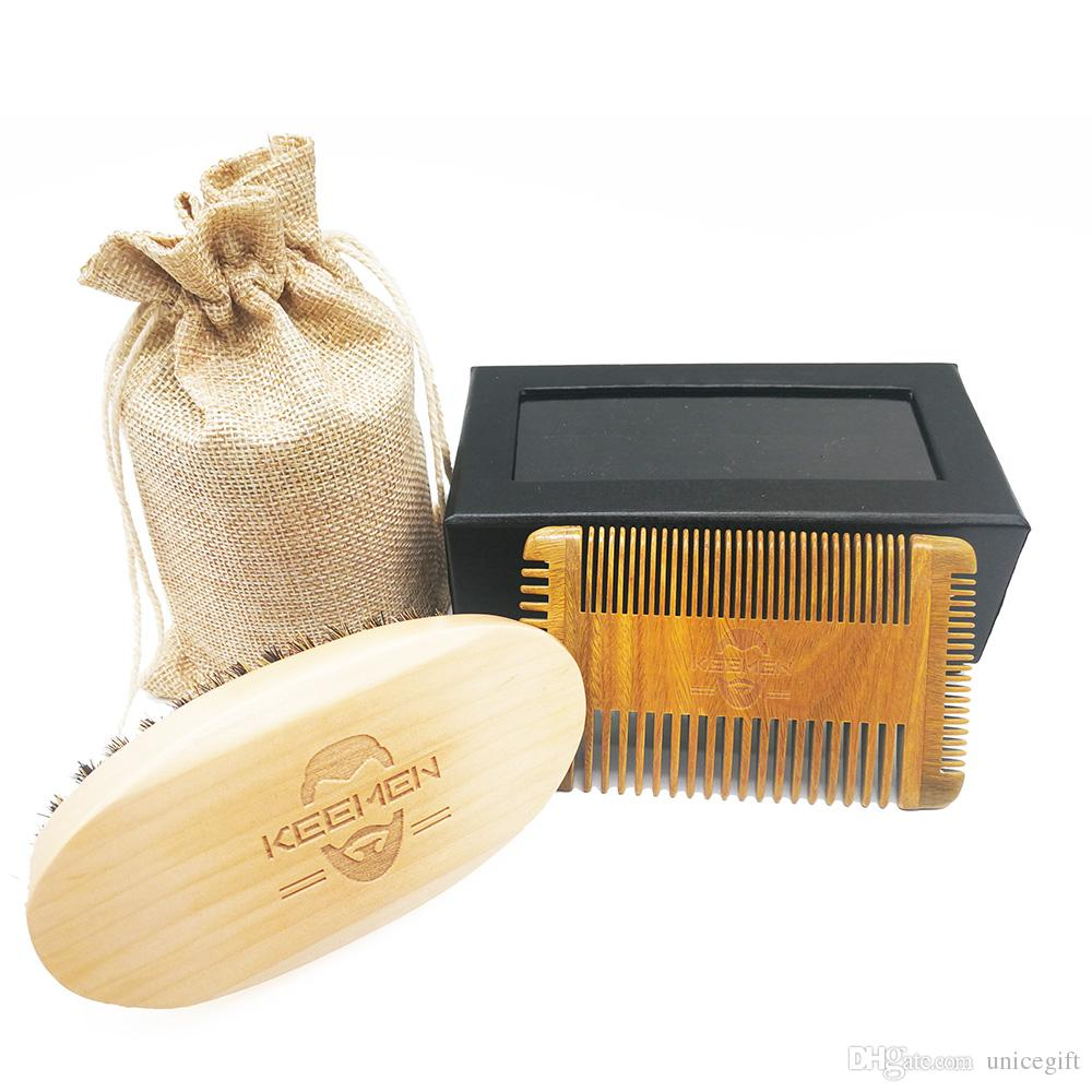 4 Edged Multifunction Fine & Coarse Teeth Green Sandalwood Beard Combs Hair Combs & Boar Bristle Wood Beard Brush Men Grooming Kit