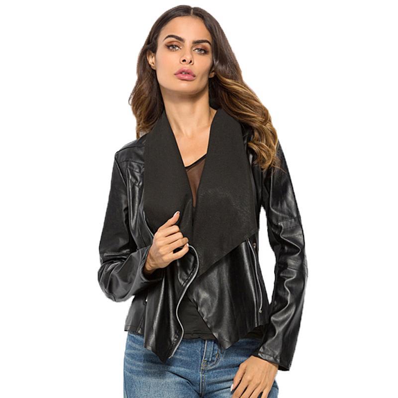 Fashion Women PU Leather Coat Cardigan Open Stitch Turn-down Collar Jacket  Outwear Women Punk Style Jacket XS-6XL Online with  48.46 Piece on  Liasheng04 s ... 73a273c7127f