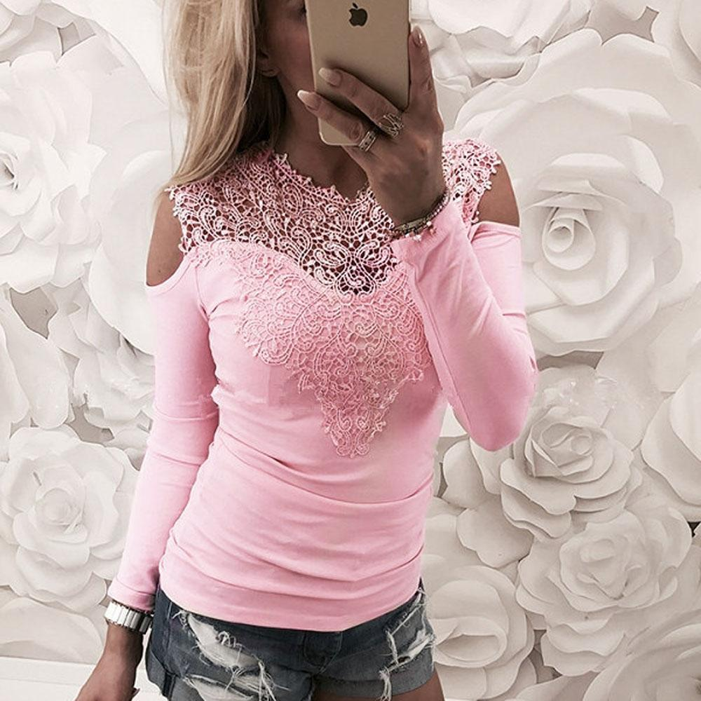 Womens Casual Autumn Long Sleeved Patchwork Lace Panelled Tops Blouse T-Shirt Ladies Solid Color Jumper Shirt Tee