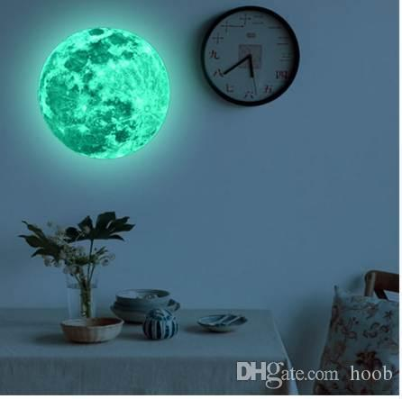 20cm 3d large moon fluorescent wall sticker removable glow in the