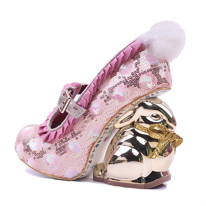 dc1dfe684e Sexy Rabbit Heels Women Glitter Pumps Round Toe Pom Pom Decor Strange Heels  Sequin Dress Shoes Black Pink Free Ship Formal Shoes For Men Formal Shoes  From ...