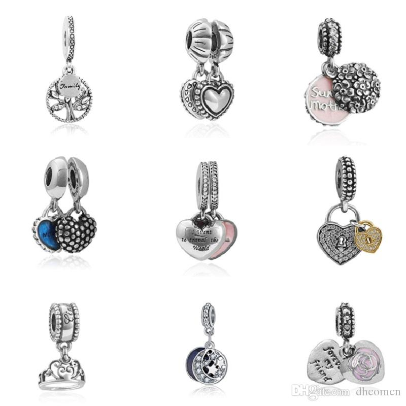 20PCS Mother Heart Beads Fit Pandora Charms Necklace Bracelets Jewelry Making Tree of Life Heart Shape Pendant