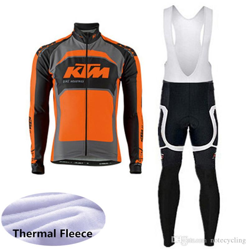 Compre 2018 Inverno KTM Conjunto De Roupas De Ciclismo Homens De Lã Térmica  Bicicleta De Estrada Camisa De Manga Longa Bib Calças Terno MTB Bicicleta  Roupas ... 0f3f6ea0c96f5