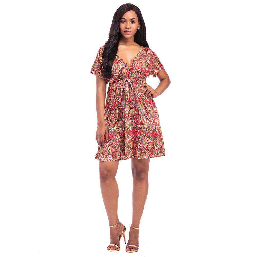 cab3073dabbf Sexy Women Plus Size Dress XXXL 4XL Vintage Floral Print Summer Dress V  Neck Short Sleeve Hippie Boho Smock Dress Female 2019 Evening Dresses With  Sleeves ...