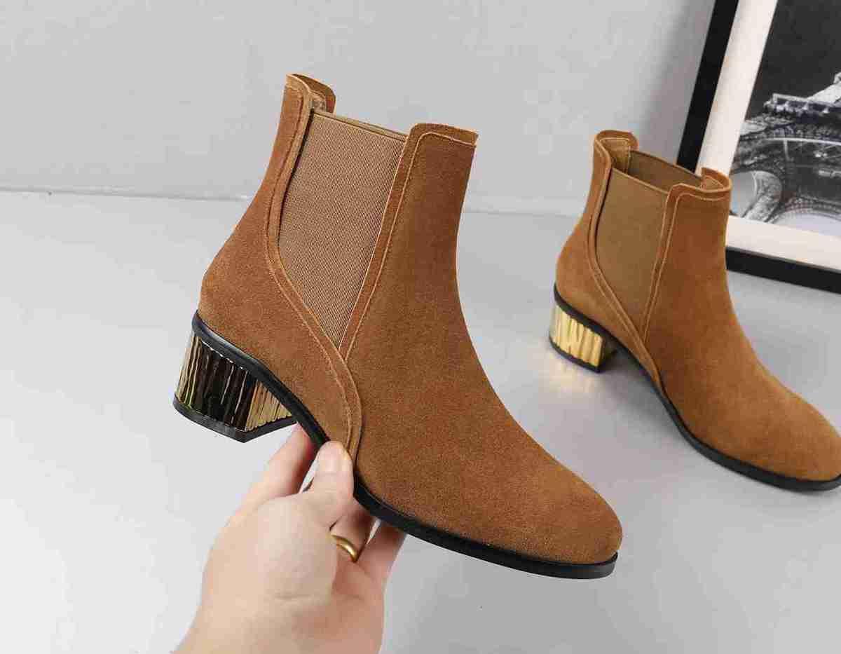 1448545a536 Compre G 2018 Moda Temperamento De Otoño Botas Cortas Mujeres De Tacón Dorado  Zapatos De Color Sólido Diseñador De Moda Marca Ladies Cool Negro Y Marrón  A ...