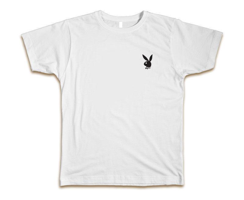 50467153fc0 Playboy Bunny Custom Tee T Shirt Hefner New White W/ Black Bunny Online T  Shirt Shopping Print On T Shirt From Brawtees, $11.01| DHgate.Com