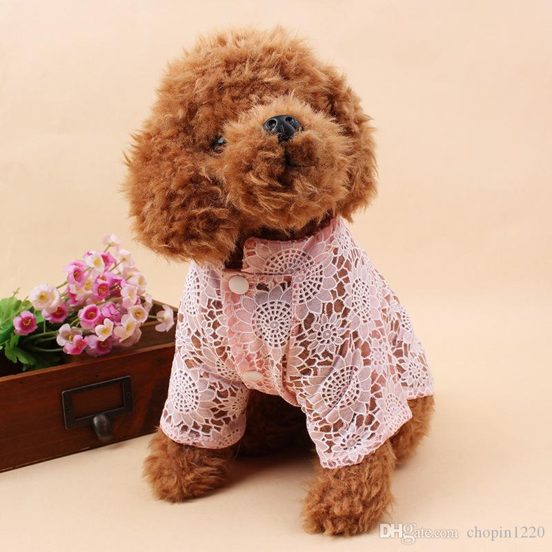 Luxury Pet Dog Clothes for Small Dogs Floral Summer Dog Dress Wedding Skirts Hollowed Lace Lovely Cat Dresses Pet Apparel 11ay27