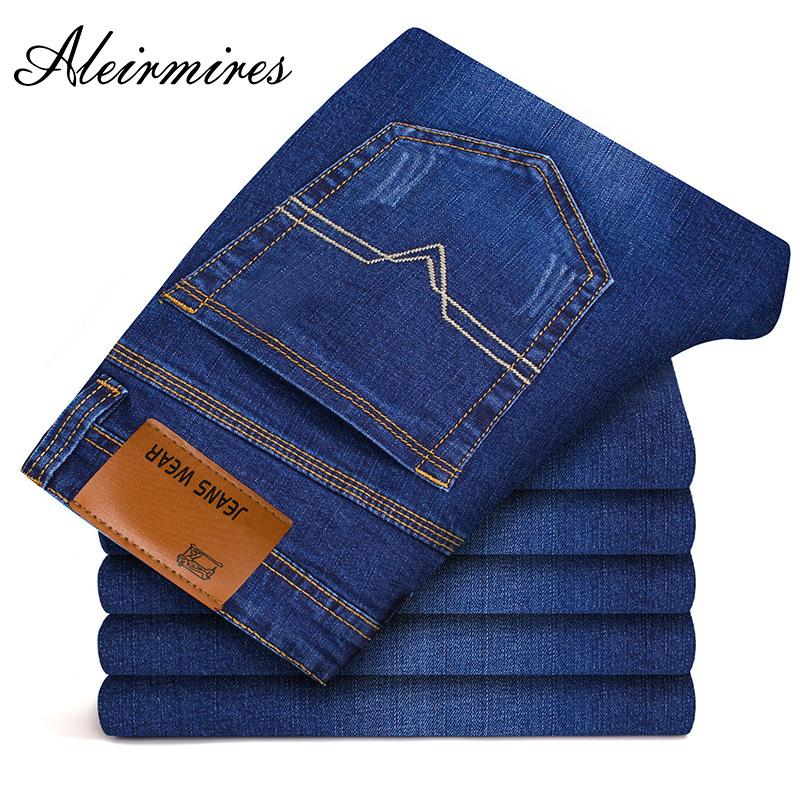 a4256fb86ba96 2019 Aleirmires Quality Skinny Fit Blue Stretch Men Jeans 2018 Smart Casual  Brand Plus Size 28 To 42 Straight Slim Men Jeans Pants From Bairi
