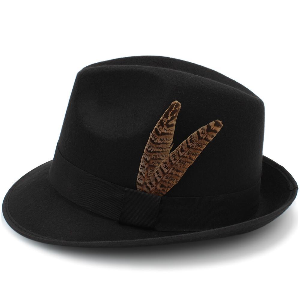 19a275838076a Acheter Vintage Laine Femmes Hommes Gangster Trilby Feutre Fedora Chapeau  Avec Mode Plume Gentleman Élégant Dame Hiver Automne Jazz Caps De $24.91 Du  ...