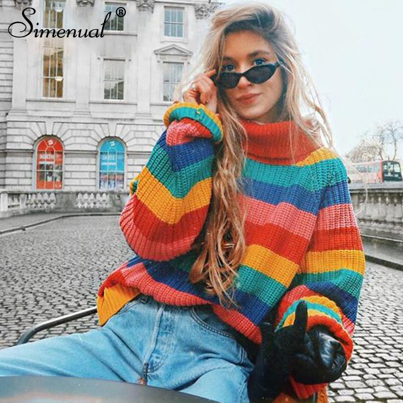 2019 Simenual Rainbow Turtleneck Sweaters Women Winter 2018 Jumpers Knitted  Clothes Fashion Striped Oversized Pullover Female Sale From Zengfashion ac3914a52