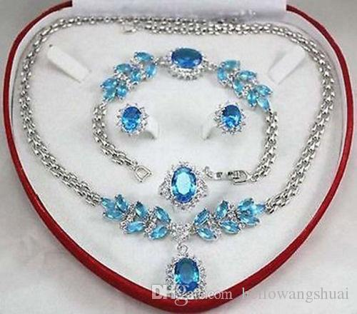 Jewelry BLUE CRYSTAL Necklace Bracelet Ring Earring Sets+box