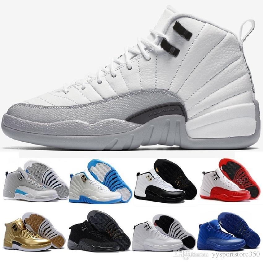 best website ab804 b38da Acquista Nike Air Jordan 12 Aj12 Retro Di Alta Qualità 12 12 S OVO Bianco  Palestra Rosso Scuro Grigio Scarpe Da Basket Uomo Donna Taxi Blu Suede  Gioco Di ...