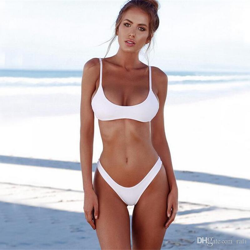 0092fb8aea1d4 2018 New Summer Women Solid Bikini Set Push-up Unpadded Bra Swimsuit  Swimwear Triangle Bather