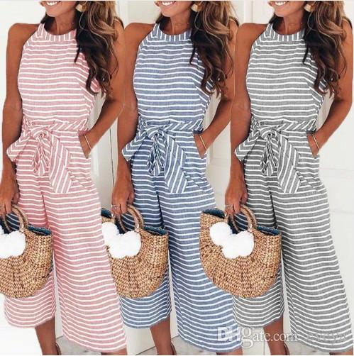 de1bb91294d Elegant Sexy Jumpsuits Women Sleeveless Striped Jumpsuit Loose Trousers  Wide Leg Pants Rompers Holiday Belted Leotard Overalls Online with   17.97 Piece on ...