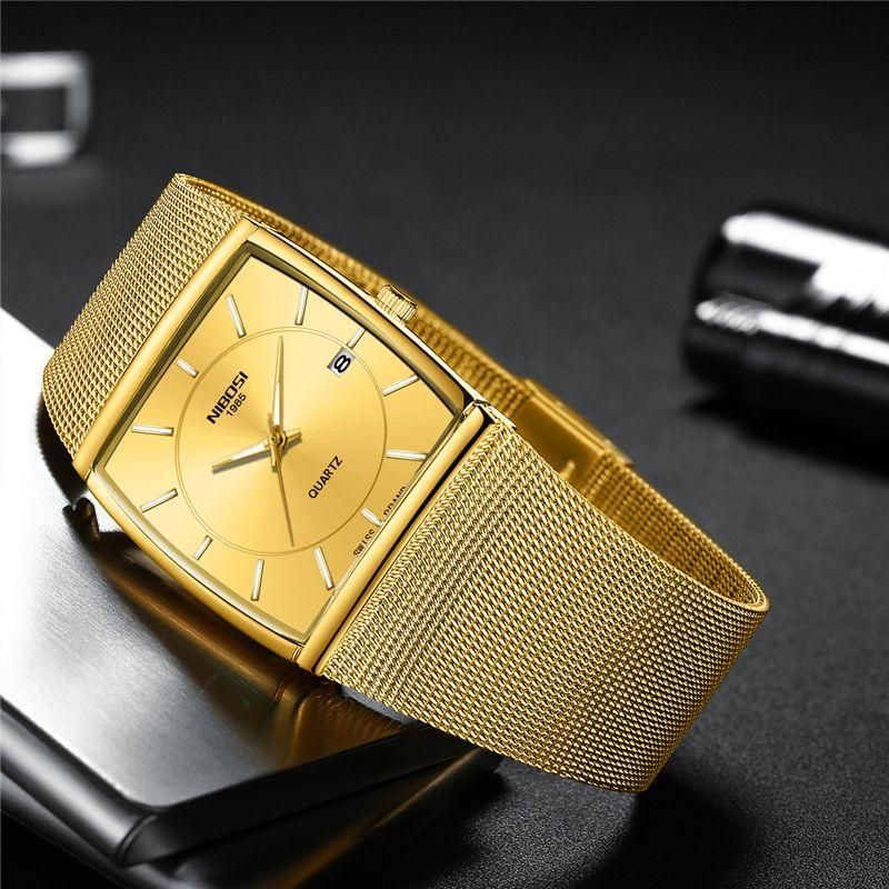 Compre NIBOSI Dropshipping Relógios Homens De Luxo Da Marca De Malha  Quadrado De Aço Dial Relógio De Quartzo Auto Data De Negócios Masculino  Relógio De ... 8e7c6195b3