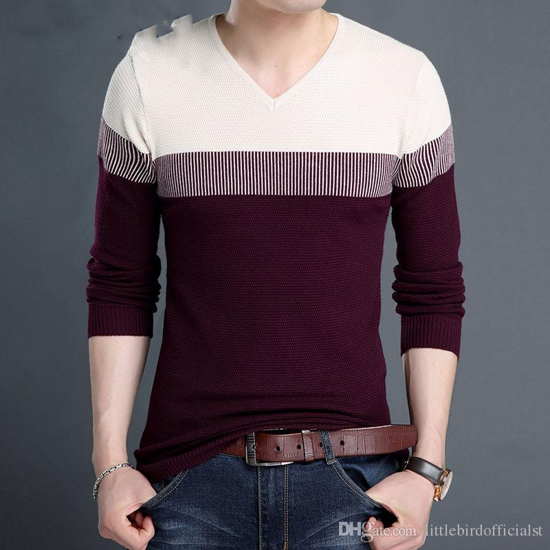 V-Neck Pullover Men Autumn Winter Brand Clothing Slim Fit Cashmere Knitwear Men Wool Sweater Shirt Pull Homme 7
