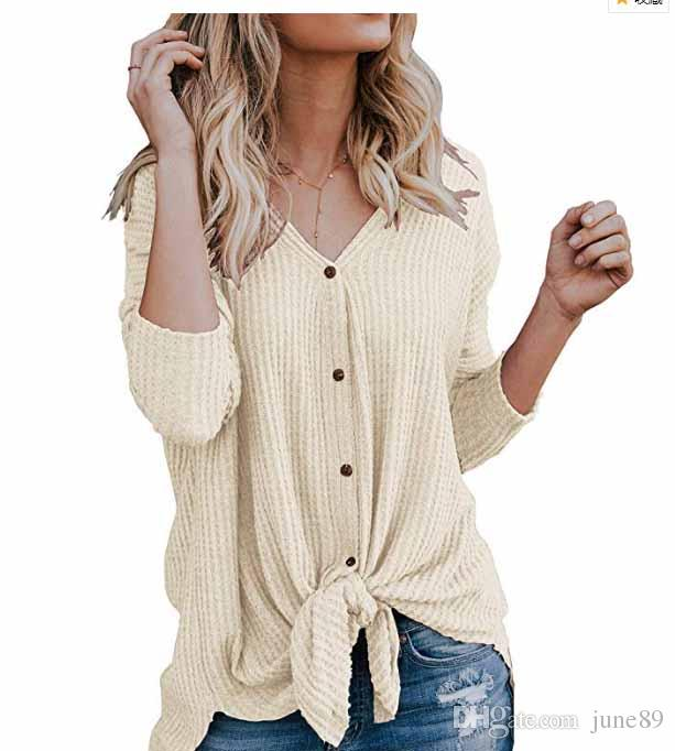 e7a318fc40952 2019 JUNE Womens Waffle Knit Tunic Blouse Tie Knot Henley Tops Loose Fitting  Bat Wing Plain Shirts From June89