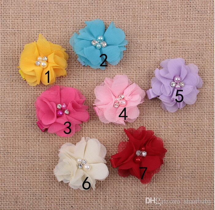 Colorful Flower Baby Girl Accesorios para pinza de pelo Perla para niños Hair Barrettes Pinza para el pelo Cute es