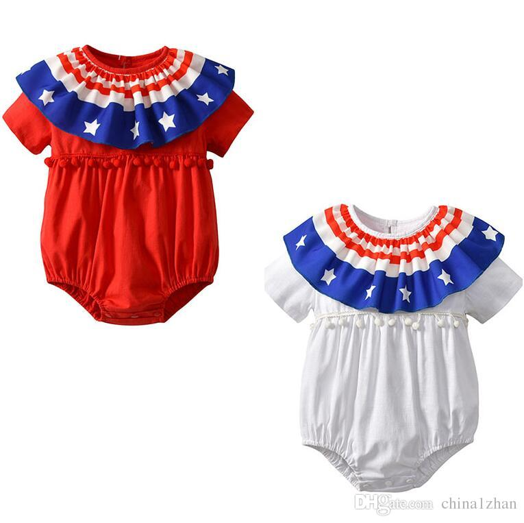 c03cbc2b2ee7 Summer INS Baby Rompers Stars And the Stripes Kids Jumpsuits Short ...