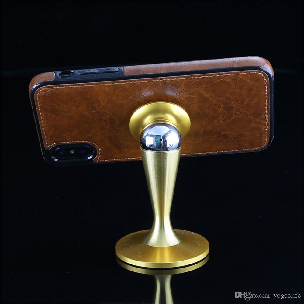For iphone X grain Pu Leather Phone Case 7 7plus Magnetic Suction Bracket For Car Kickstand Phone Case