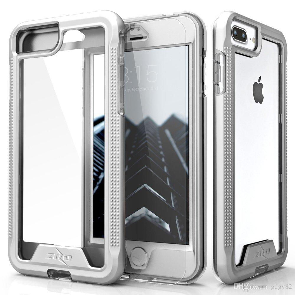GDGY ION Series for iPhone 8 Plus Case / iPhone 7 Plus Case - Military Grade Drop Tested with Tempered Glass Screen Protector Silver/Clear