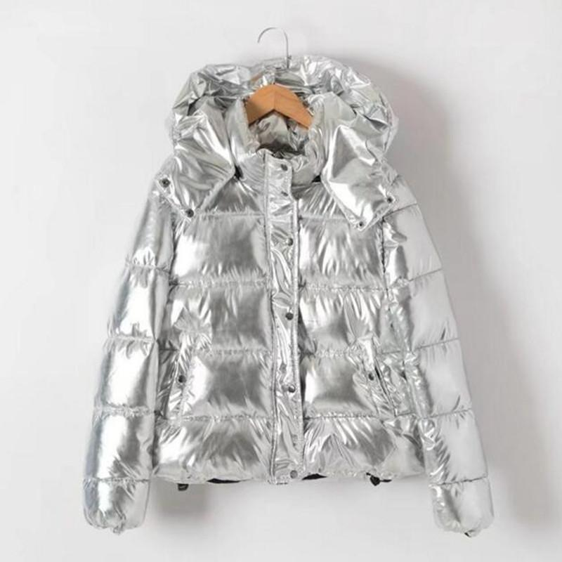 e72c4ce66c8 2019 Stylish Metallic Color Striped Quite Hooded Parkas Women Padded Zipper  Pilots Coat Outerwear Tops Femme Silver Color From Sogga, $67.29    DHgate.Com