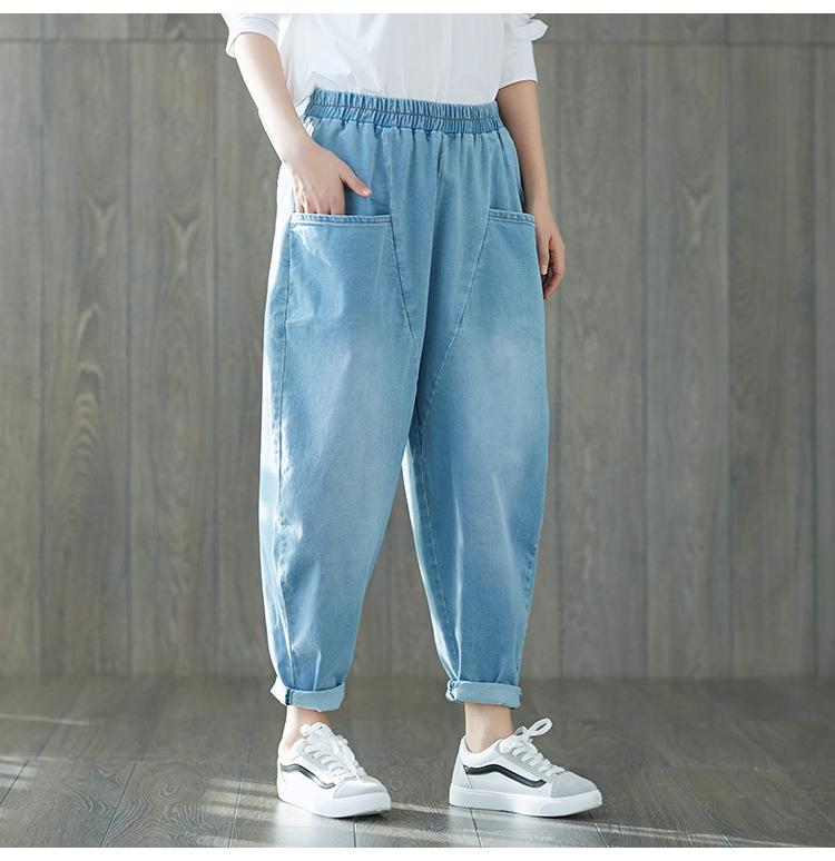 5ef5b9af541 2019 Fall Plus Size Boyfriend Jeans For Women Baggy Harem Denim Pants  Female Ealstic Waisted Trousers Blue Girl Korean Loose Jeans From  Qingchung