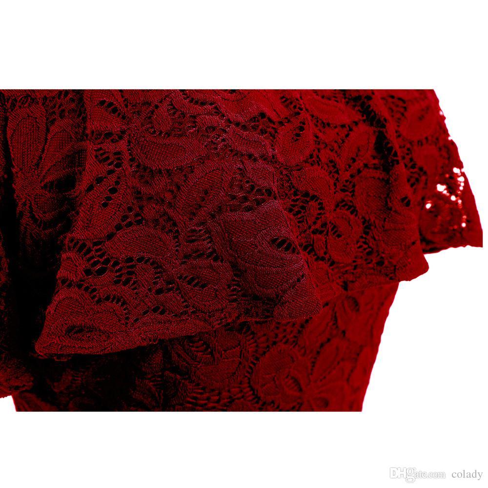 Robe Femme Broderie Robe De Dentelle Vintage De Demoiselle D'honneur Sur Des Robes D'épaule Casual Party Une Robe De Taille Plus Ligne