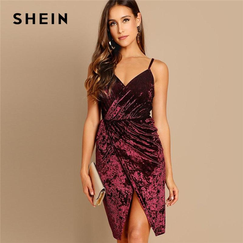 SHEIN Burgundy Ruched Front Wrap Velvet Cami Dress Spaghetti Strap Solid  Color Night Out Party Autumn Modern Lady Women Dresses Sequin Dress Going  Out ... 53100b14d9